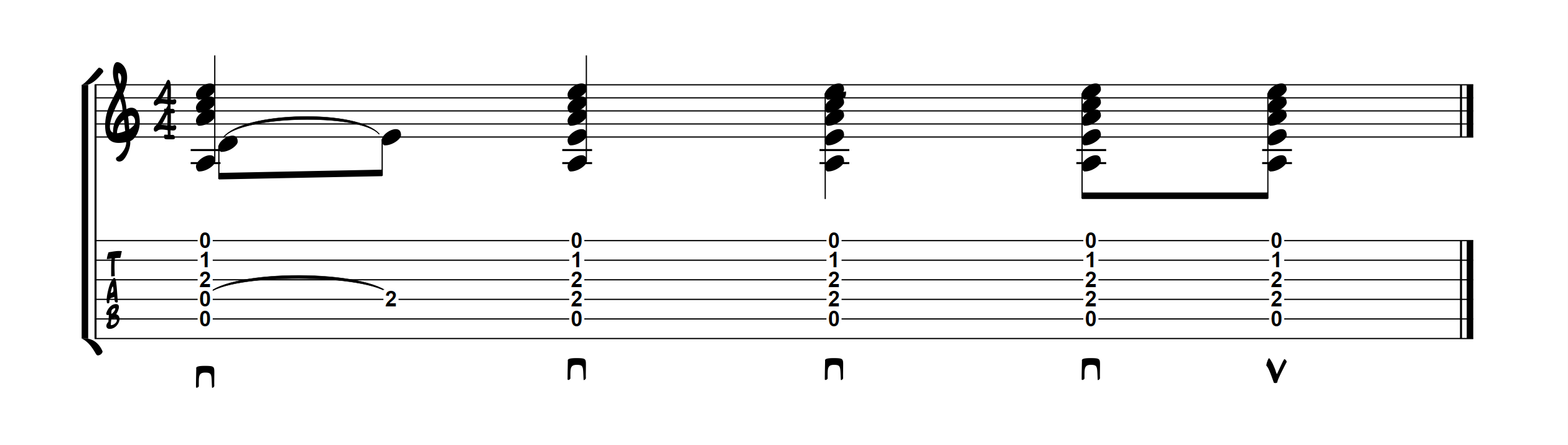 Exemple tablature accords ouverts avec hammer-on