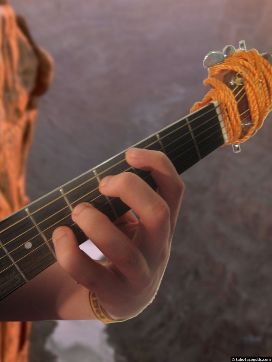 position of the fingers on the guitar, front view