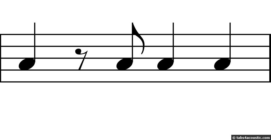 Deuxième exemple de rythme, avec demi-soupir